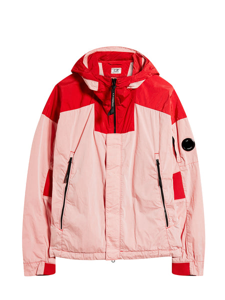 50 Fili Mixed Hooded Lens Jacket in Peach Pink
