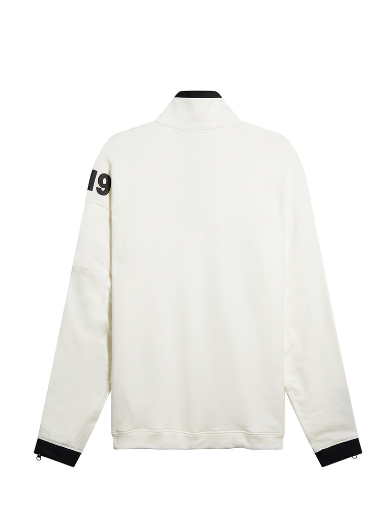 Diagonal Fleece Quarter Zip Sweater in White
