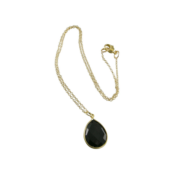 gold chain black onyx necklace