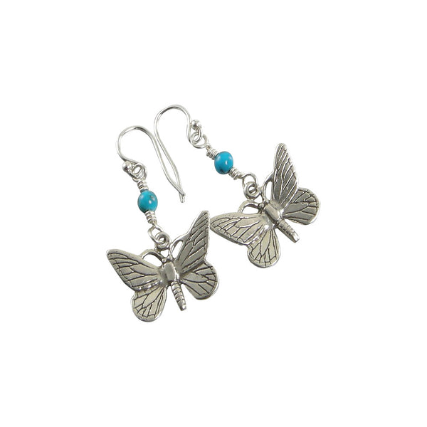 turquoise sterling silver butterfly earrings