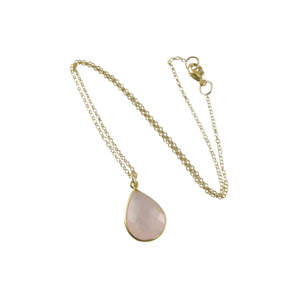 gold chain rose quartz necklace