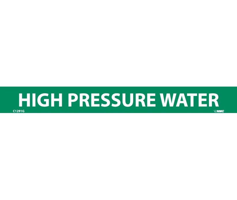PIPEMARKER, HIGH PRESSURE WATER, 1X9, 1/2  LETTER,  PS VINYL