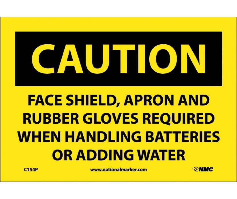 CAUTION, FACE SHIELD APRON AND RUBBER GLOVES REQUIRED, 7X10, PS VINYL