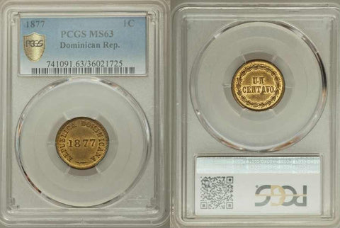 1877 Small Brass Coin The Dominican Republic One or Un Centavo Uncirculated PCGS MS 63