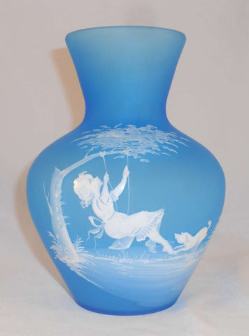 1971 Mary Gregory Style Frosted Blue Glass Hand Made Westmoreland Vase Girl on Swing with Dog Decoration Signed C Steeley