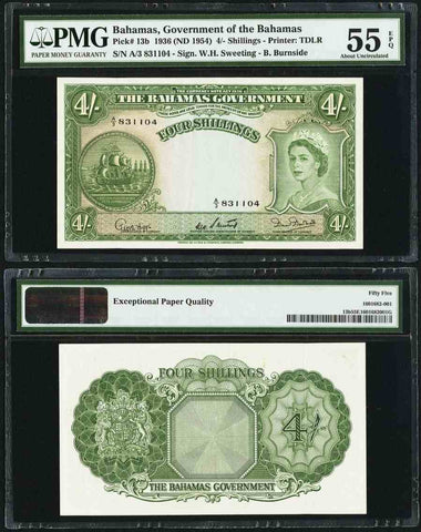 The Bahamas Government Four Shillings Banknote Pick Number 13b Queen Elizabeth II Portrait