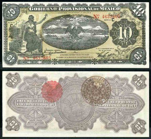 1914 Mexican Provisional Government Large Ten Pesos Banknote Series C Liberty Seated, Pick Number S1106 Beautiful About Uncirculated or Better Banknote
