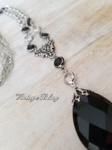 Black Chandelier Crystal Necklace