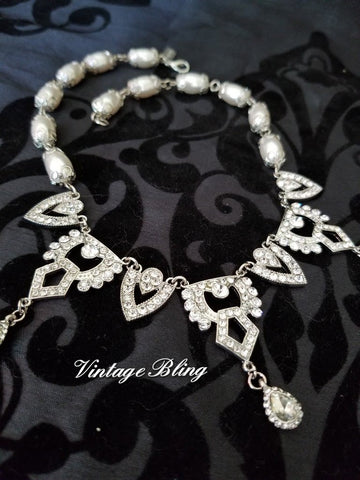 Stunning Rhinestone and Pearl Necklace