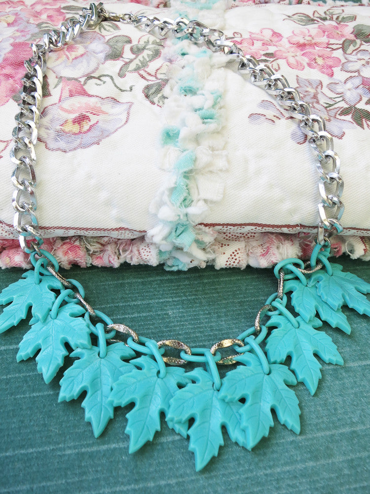 Turquoise Maple Leaf Necklace/Collar