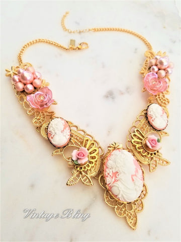 Pink Cameo Statement Necklace 18K