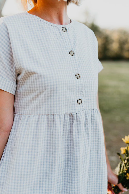 THE BETTY BUTTON UP MIDI DRESS IN GREY PLAID