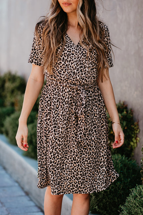 THE CAMILLE RIBBED DRESS IN LEOPARD