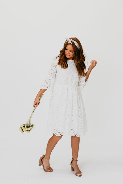 THE HADLEY EYELET DRESS IN WHITE