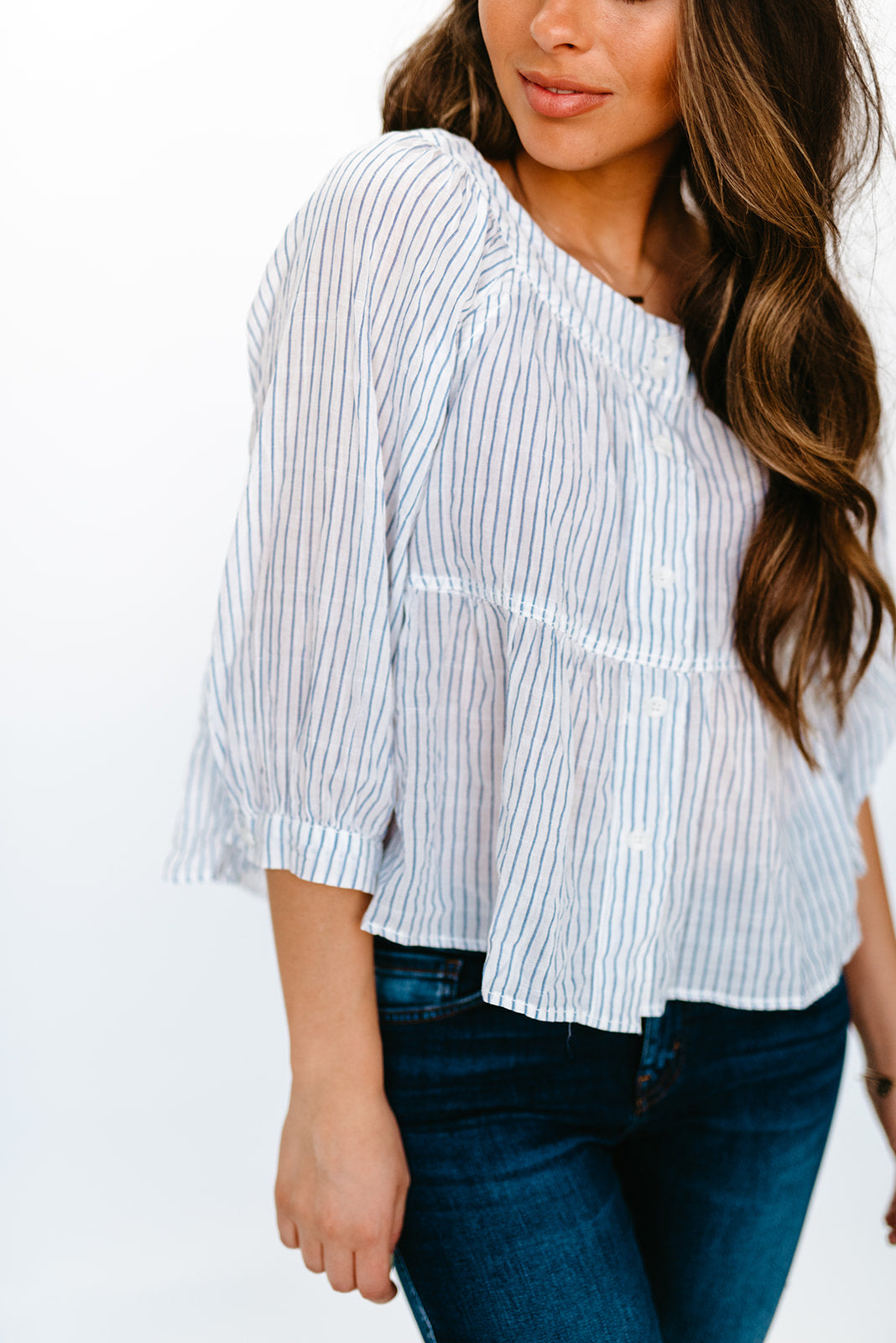 FREE PEOPLE SEA TO SHORE STRIPED TOP IN IVORY