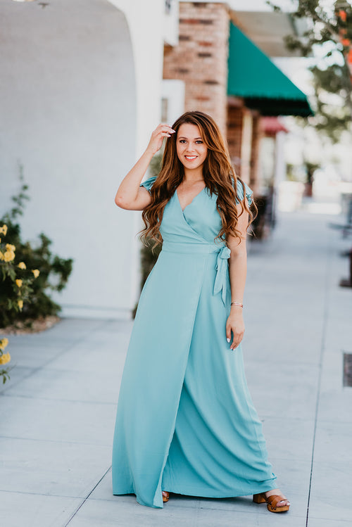 THE ARIE PLEATED SLEEVE MAXI IN JADE