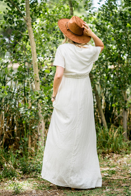 THE AMELIA EMBROIDERED MAXI DRESS IN WHITE
