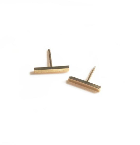 Solid Gold Bar Studs
