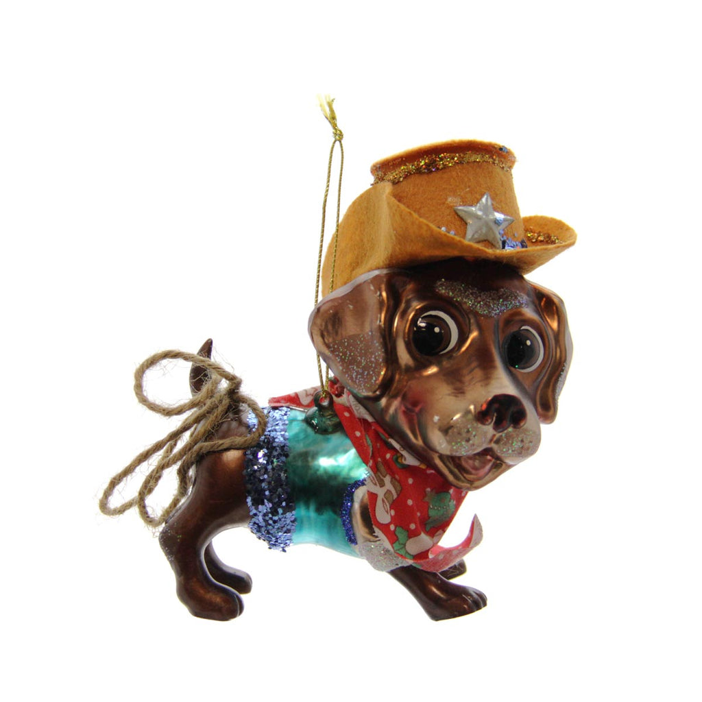 Chocolate Labrador with Cowboy Hat Ornament