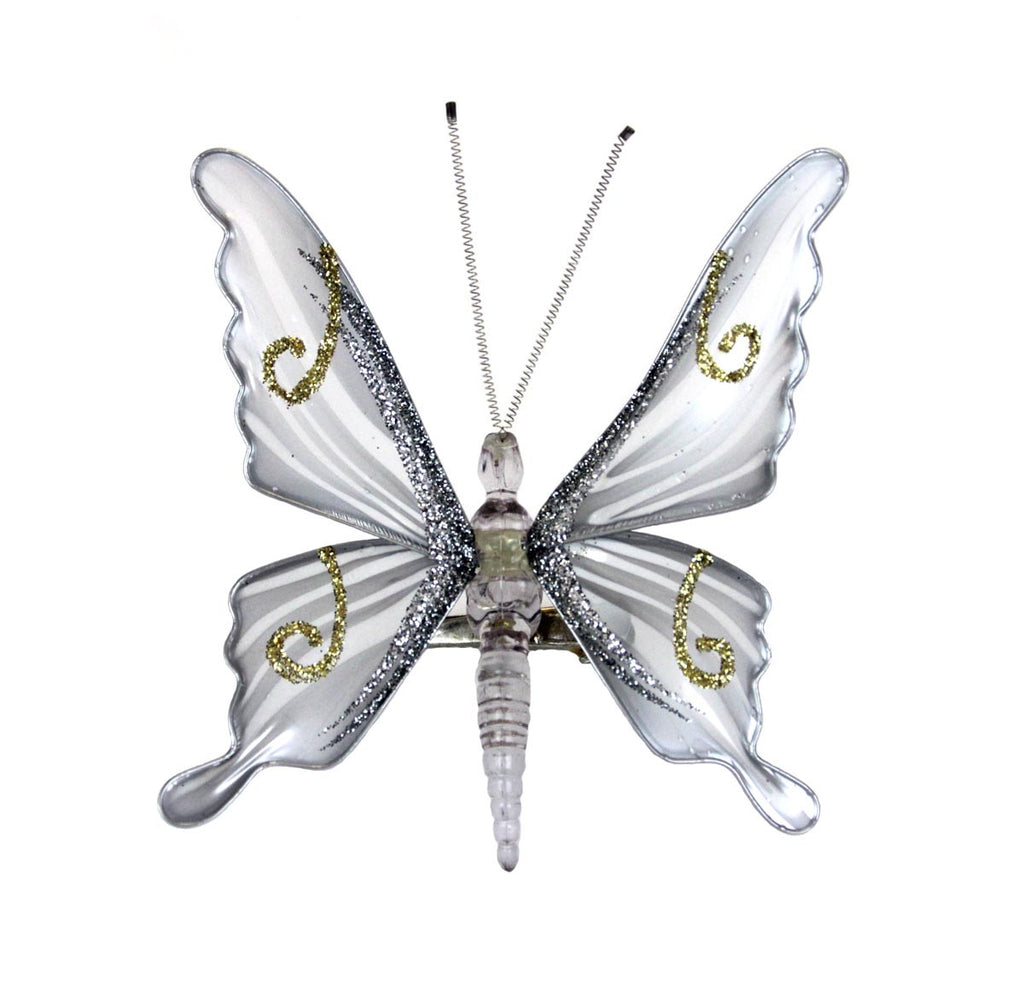 Butterfly Clip Ornament Silver