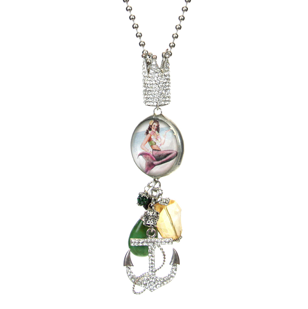 Amy Labbe Mardi Gras Necklace-Anchor Mermaid Pendant
