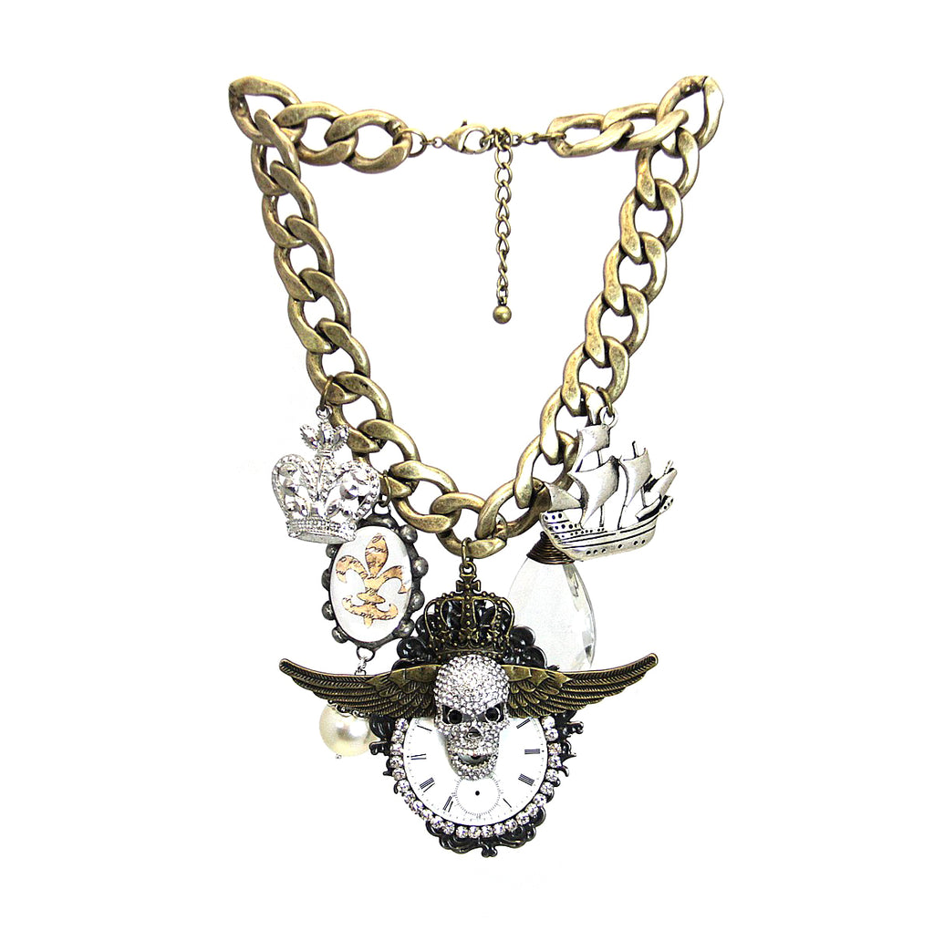 Amy Labbe Mardi Gras Necklace-Skull Crown Ship