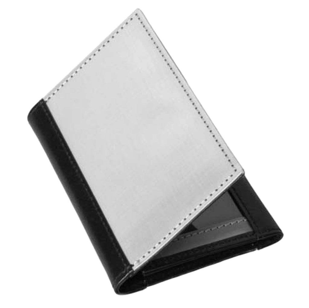 Stainless Steel Gusset Driving Wallet ID Black Leather