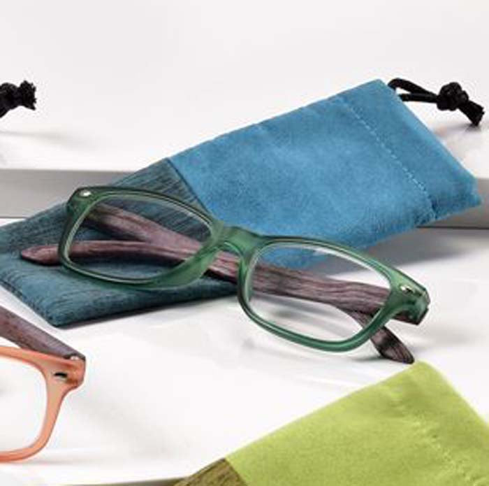 '+2.00 Spring Hinge Glasses with Case-Teal