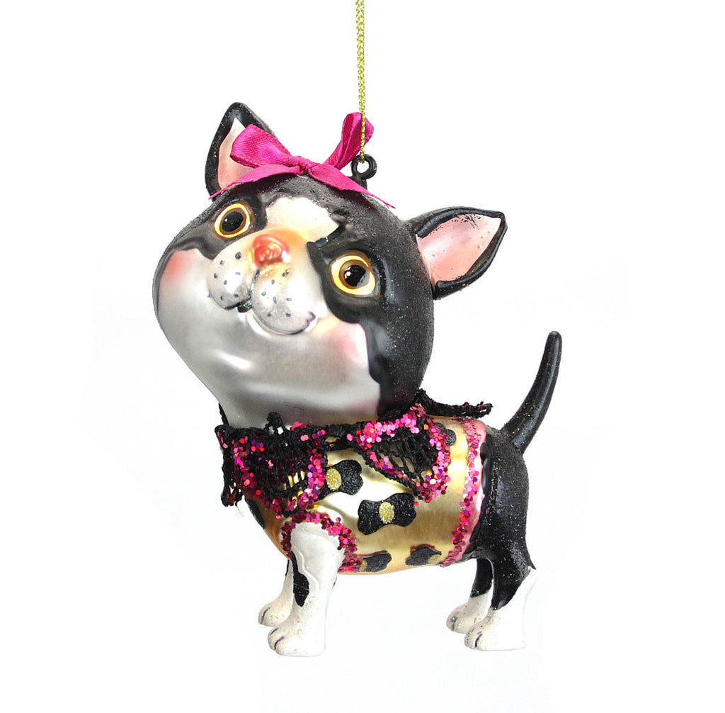 Black & White Cat Ornament with Scarf