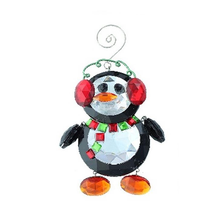 Acrylic Penguin with Ear Muffs Ornament