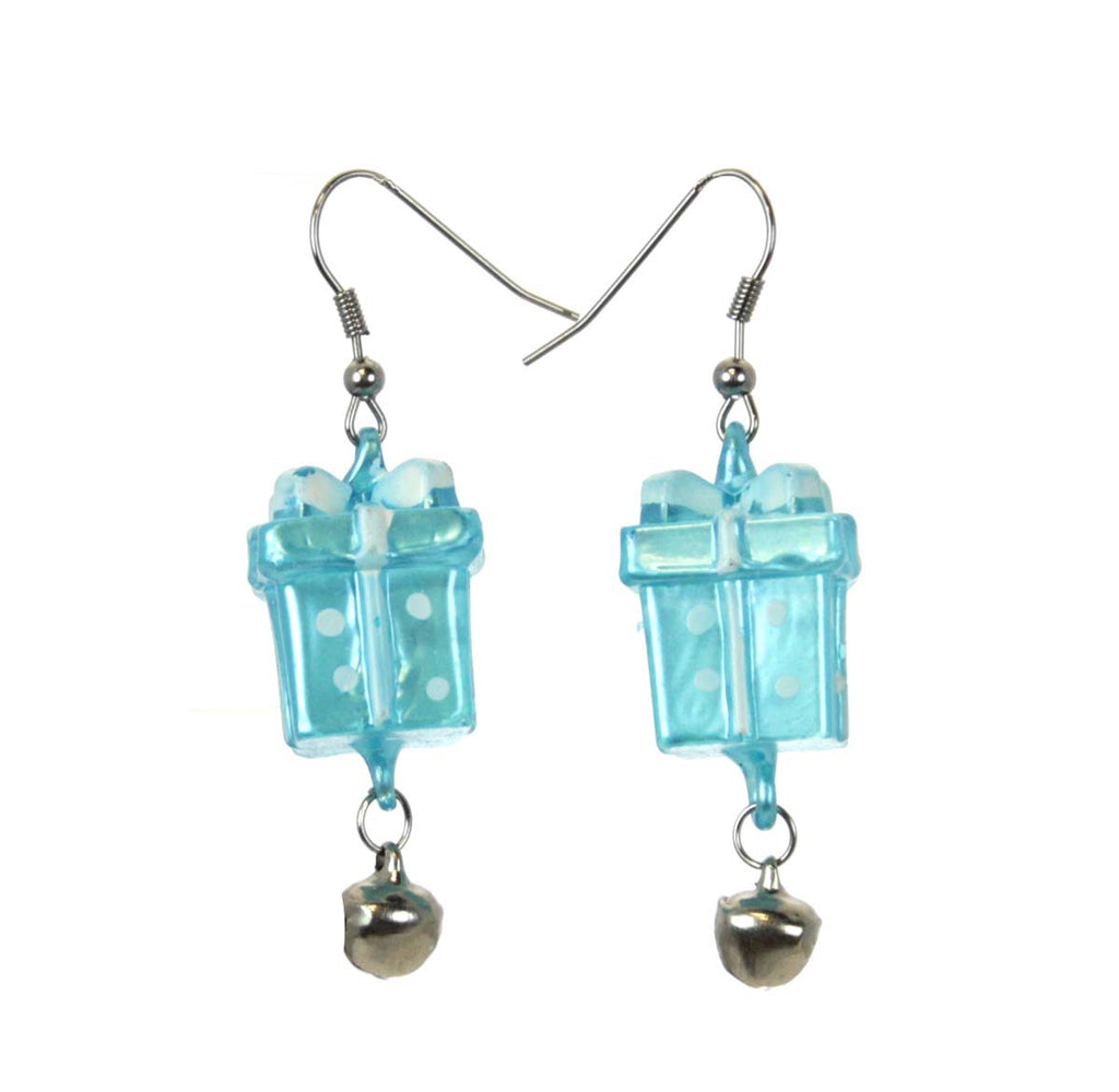 Christmas Present Earrings Blue