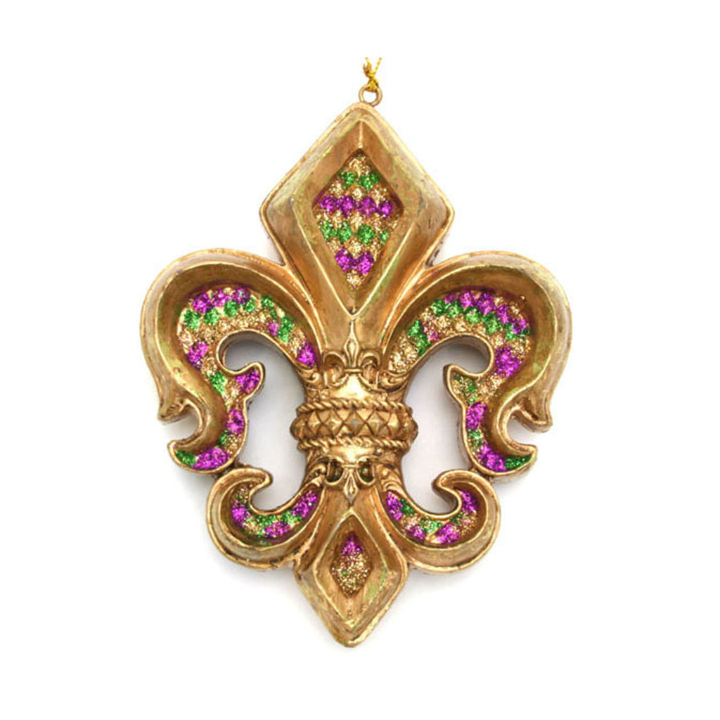 Fleur De Lis Ornament Purple Green & Gold
