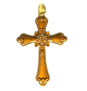 Cloisonne Enamel Cross Antique Gold