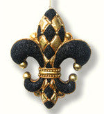 Diamond Fleur De Lis Ornament Black Small