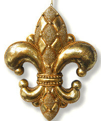 Diamond Fleur De Lis Ornament Gold Large