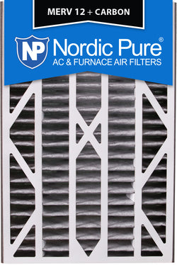 16x25x3 Air Bear Cub Replacement MERV 12 Pleated Plus Carbon Qty 7 - Nordic Pure