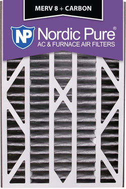 16x25x3 Air Bear Cub Replacement MERV 8 Pleated Plus Carbon Qty 7 - Nordic Pure