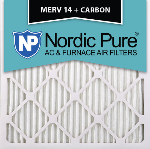 12x12x1 MERV 14 Plus Carbon AC Furnace Filters Qty 24 - Nordic Pure