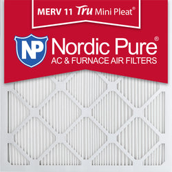 25x25x1 Tru Mini Pleat MERV 11 AC Furnace Air Filters Qty 3 - Nordic Pure
