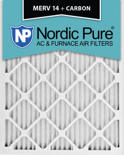 12x20x1 MERV 14 Plus Carbon AC Furnace Filters Qty 12 - Nordic Pure