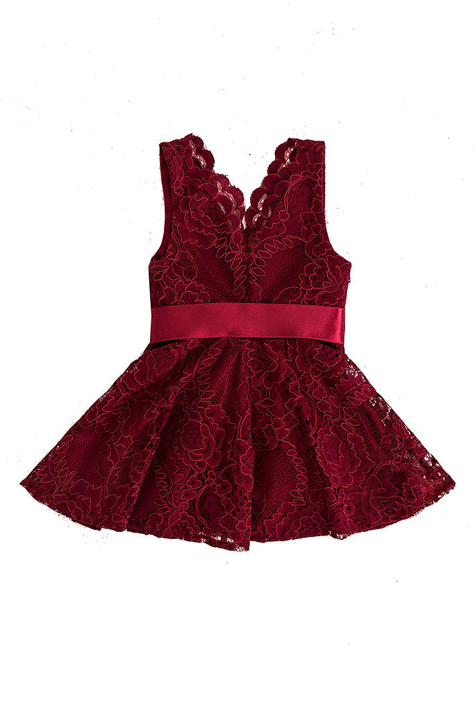 Itty Bitty Pretty Lace Dress - Burgundy