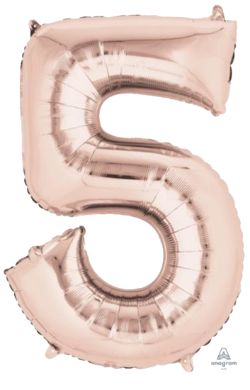 Number 5 Jumbo Rose Gold Foil Balloon