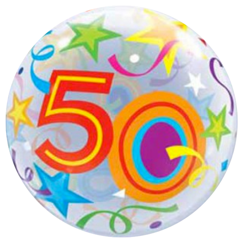 50th Birthday Stars Bubble Balloon 56cm