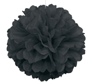 Black Puff Ball Tissue Decorations