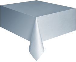 Silver Plastic Table Cloth