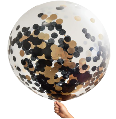 Rose Gold and Black Confetti Jumbo Balloon