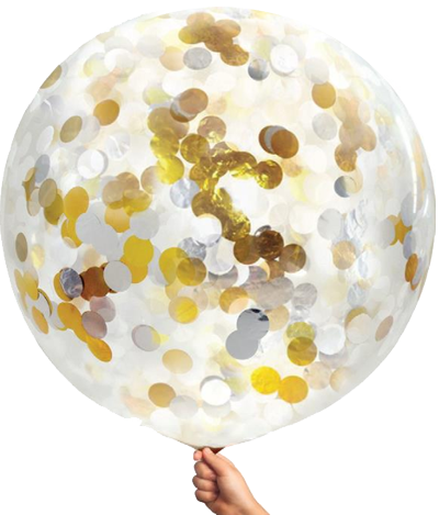 Gold and White Confetti Jumbo Balloon