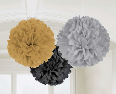 Black Fluffy Tissue Ball Decorations, Party