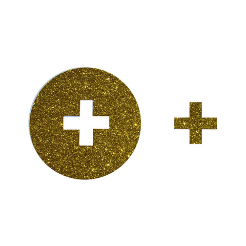 Gold Glitter Cross Party Stickers