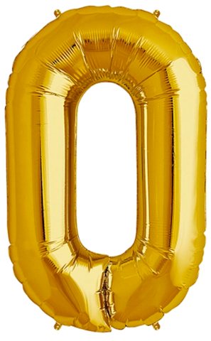 Number Zero 0 Jumbo Gold Foil Balloon